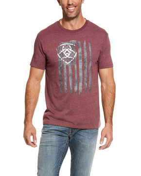 Ariat Men's Burgundy Vertical Flag Graphic T-Shirt  , Burgundy, hi-res