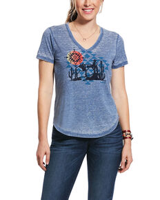 Ariat Women's Aztec Sun Graphic T-Shirt, Blue, hi-res