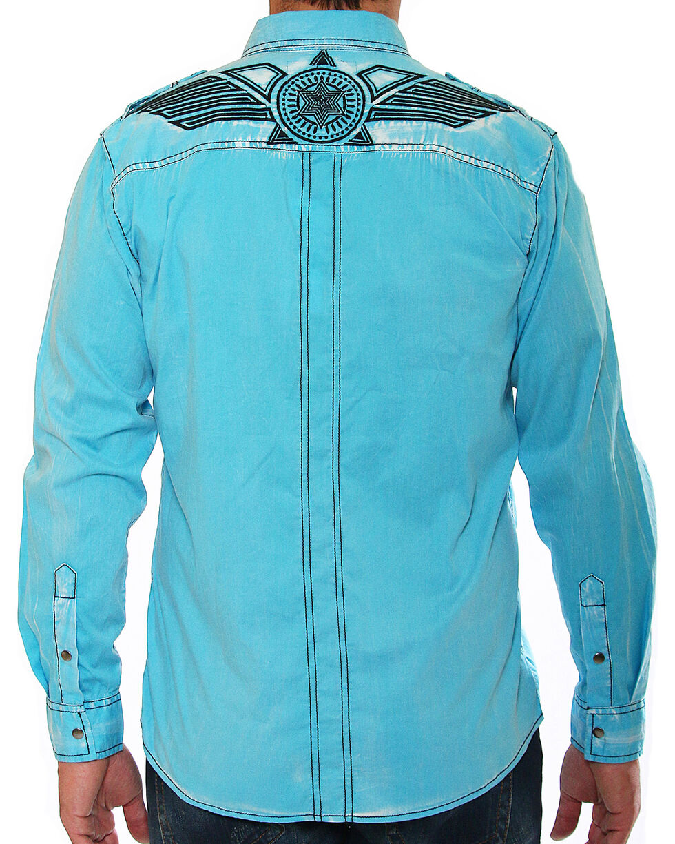 Austin Season Men's Blue Embroidered Long Sleeve Shirt , Blue, hi-res