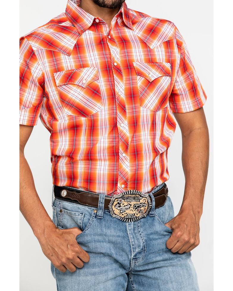 Wrangler Men's Orange Plaid Fashion Snap Short Sleeve Western Shirt , Orange, hi-res