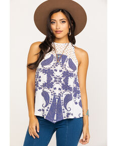 Shyanne Women's Navy & White Ikat Lace Tank Top, Navy, hi-res