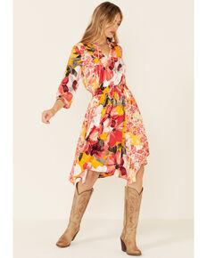 Olive Hill Women's Floral Luna Dress, Coral, hi-res