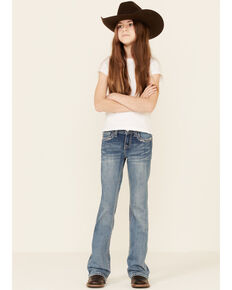 Grace In LA Girls' Medium Wash Floral Horseshoe Embroidered Bootcut Jeans, Blue, hi-res