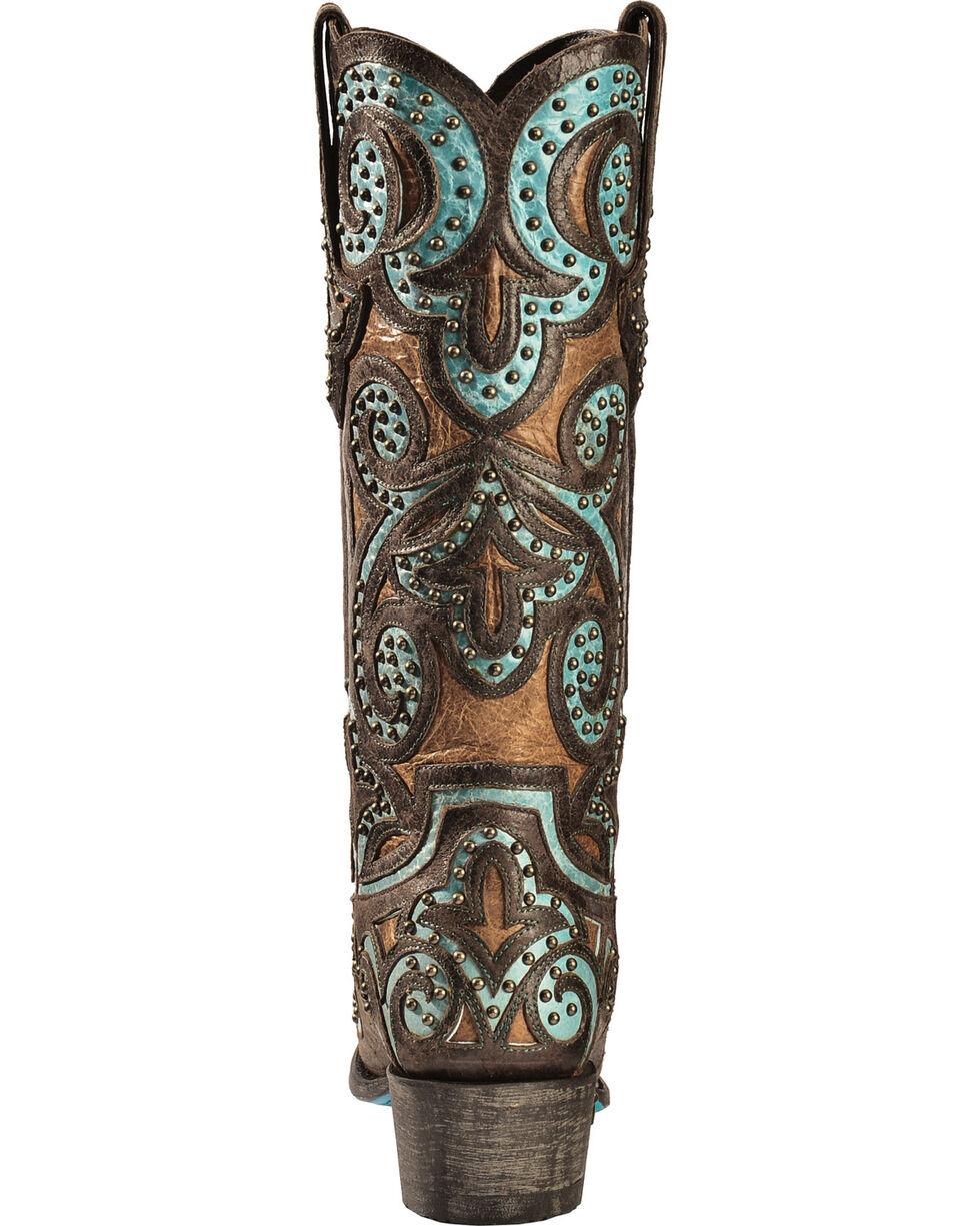 Lane Paulina Scroll Cowgirl Boots - Snip Toe, Brown/turq, hi-res