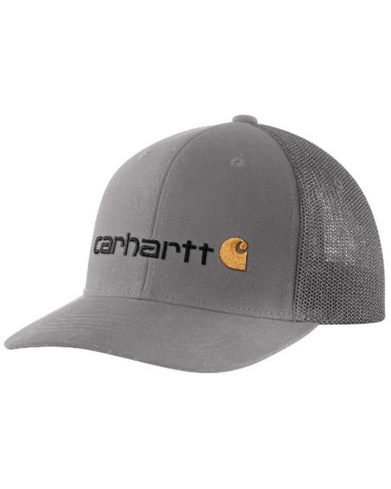 Carhartt Men's Slate Fitted Canvas Rugged Flex Graphic Mesh Cap, Slate, hi-res