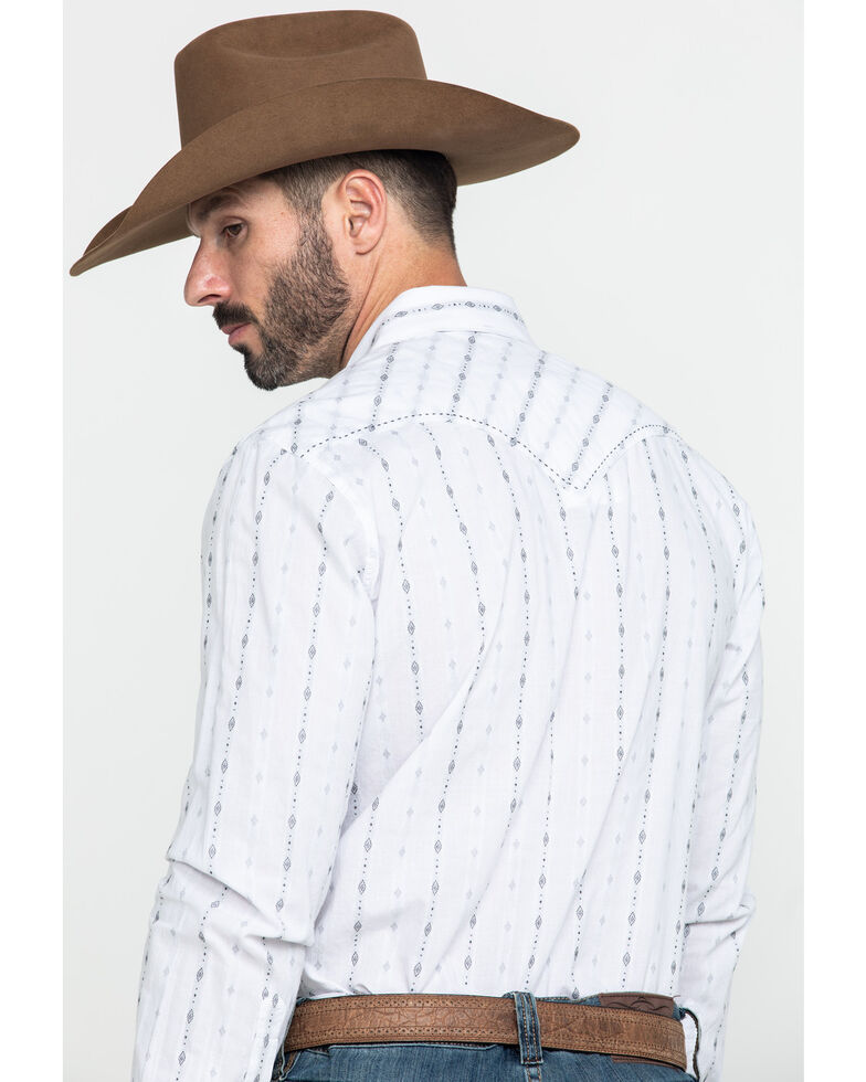 Rock & Roll Denim Men's White Jacquard Striped Geo Print Long Sleeve Western Shirt , White, hi-res
