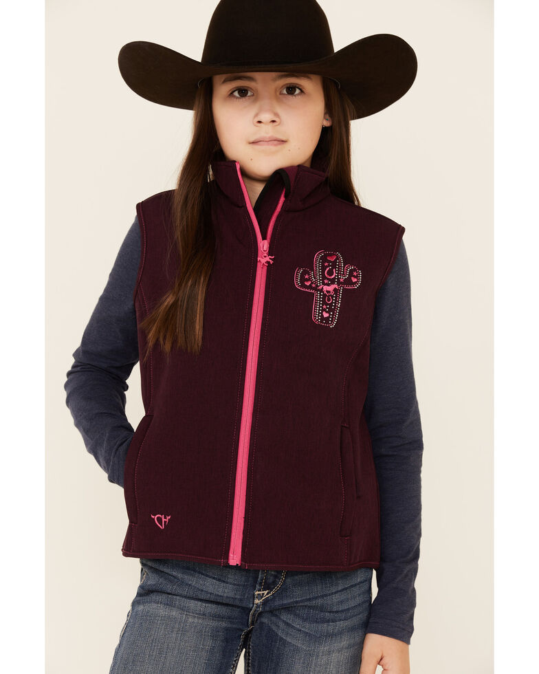 Cowgirl Hardware Girls' Burgundy Embroidered Cactus Zip-Front Softshell Vest , Burgundy, hi-res