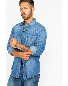 Wrangler Retro Men's Long Sleeve Premium Vintage Denim Long Sleeve Western Shirt , Indigo, hi-res