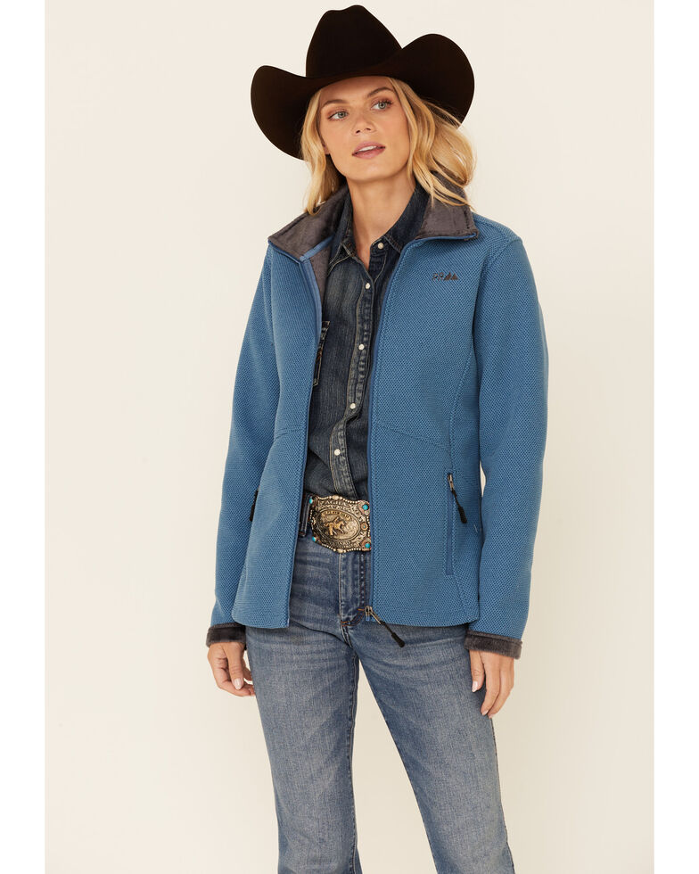 Powder River Outfitters Women's Solid Blue Honeycomb Performance Zip-Front Jacket, Blue, hi-res