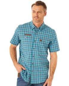 Wrangler Riggs Men's Blue Small Plaid Vented Short Sleeve Button-Down Work Shirt - Big, Blue, hi-res