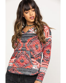 Rock & Roll Cowgirl Women's Aztec Hoodie, Red, hi-res