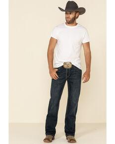 Rock & Roll Denim Men's Dark Vintage Double Barrel Stretch Relaxed Bootcut Jeans , Indigo, hi-res
