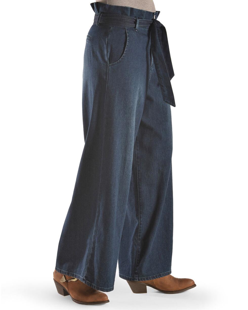 Tractr Women's Paper Bag Wide Leg Pants , Indigo, hi-res