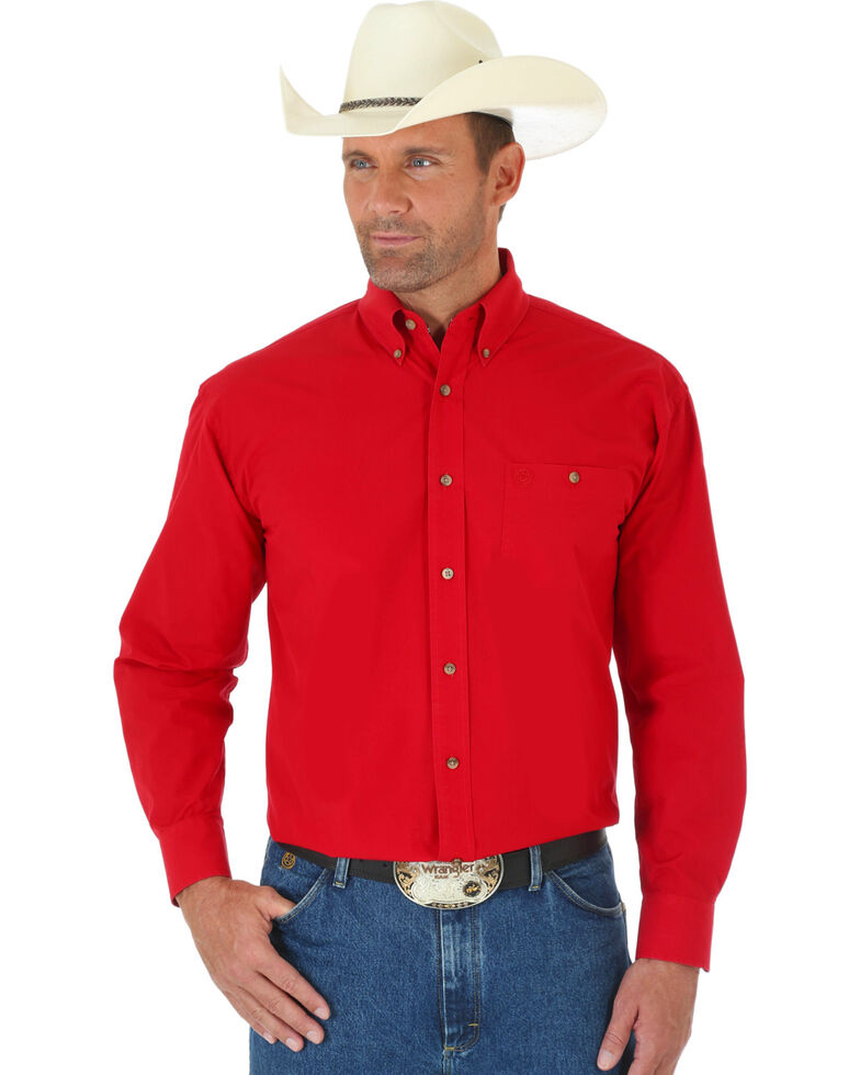 George Strait by Wrangler Men's Red Long Sleeve Shirt - Big & Tall, Red, hi-res