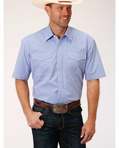 Roper Men's Amarillo Perwinkle Mini Check Plaid Short Sleeve Western Shirt , Blue, hi-res