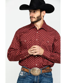 Roper Men's Amarillo Voyager Foulard Geo Print Snap Long Sleeve Western Shirt , Red, hi-res