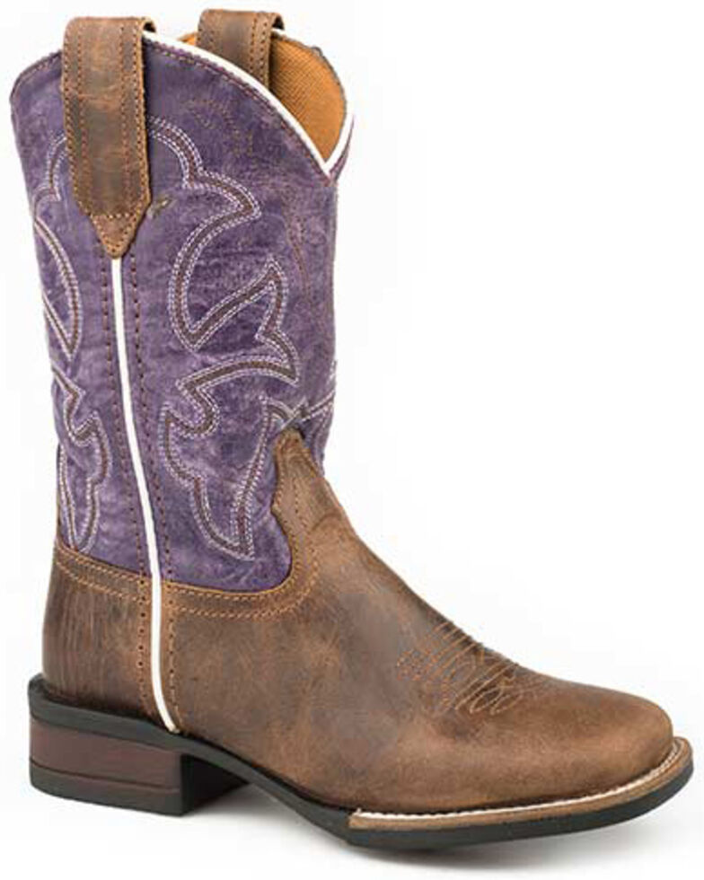 Roper Youth Girls' Faux Leather Western Boots - Square Toe, Purple, hi-res