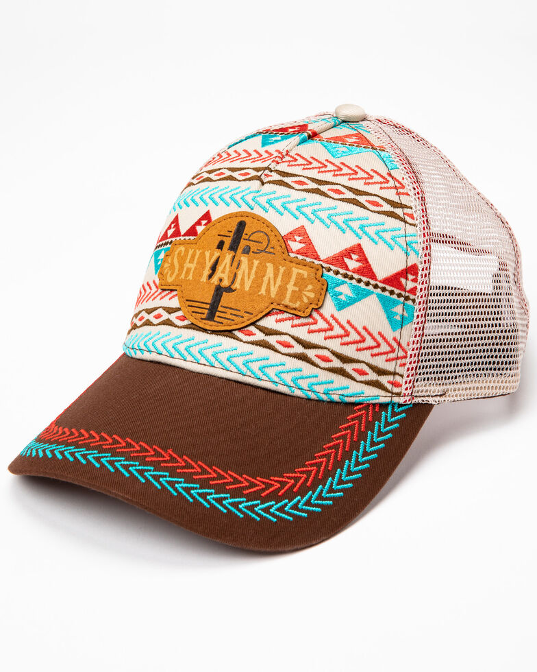 Shyanne Women's Embroidered Aztec Cactus Print Ball Cap, , hi-res