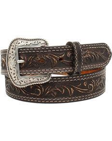 Nocona Men's Pecos Black Floral Embossed Leather Belt, Black, hi-res