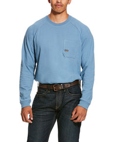 Ariat Men's Blue Rebar Cotton Strong Long Sleeve Work Shirt - Big & Tall , Steel Blue, hi-res