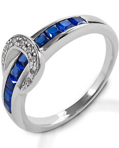 Kelly Herd Women's Small Blue Contemporary Buckle Ring , Silver, hi-res