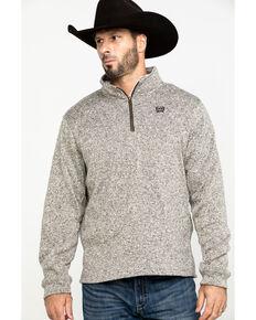 Cinch Men's Khaki 1/4 Zip Up Sweater Jacket , Beige/khaki, hi-res