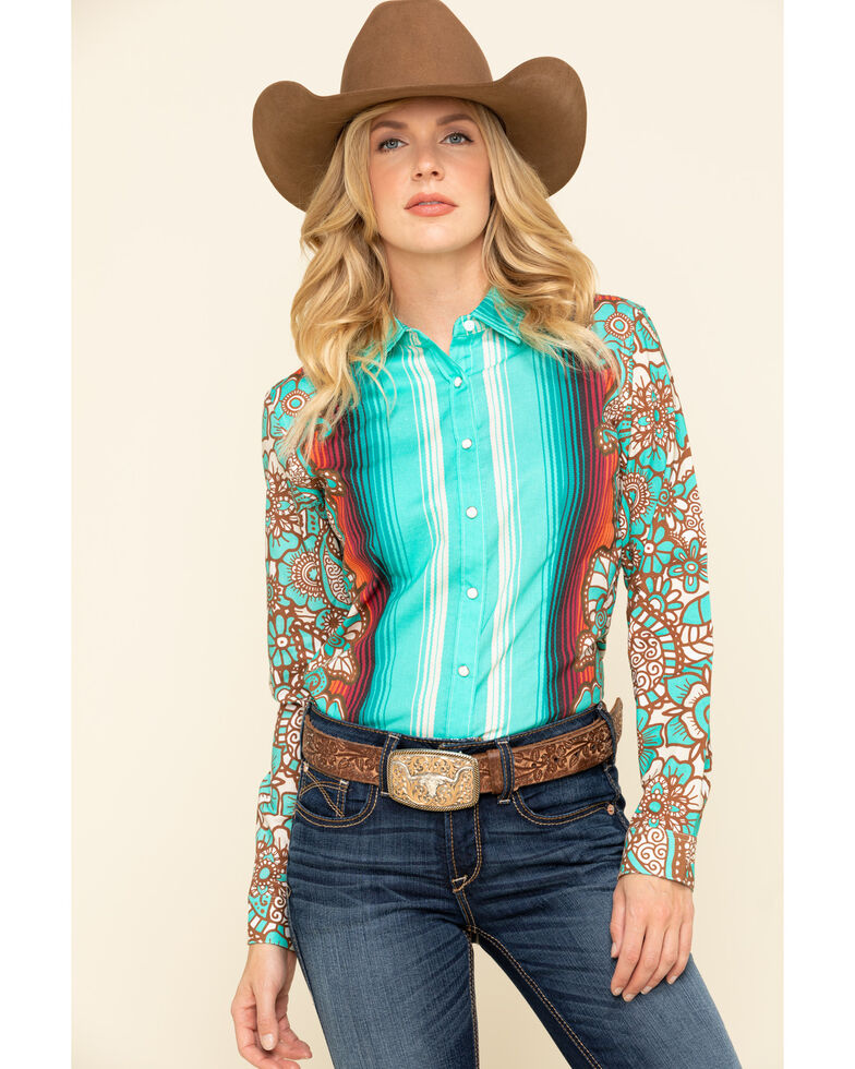 Ranch Dress'n Women's Turquoise Durango Long Sleeve Western Shirt, Turquoise, hi-res