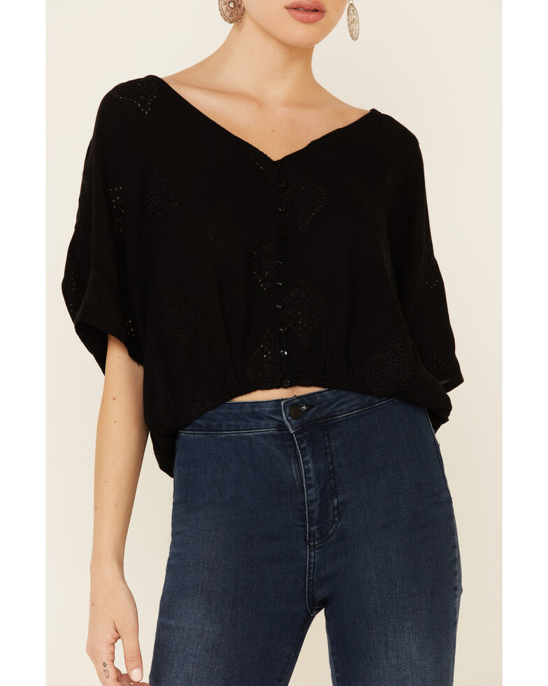 Angie Women's Embroidered Button-Down Long Sleeve Flowy Top, Black, hi-res