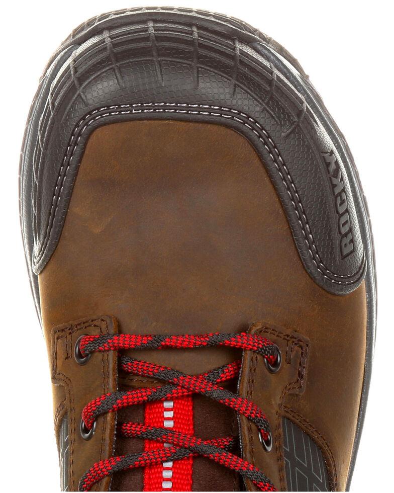 """Rocky Men's Treadflex Waterproof 8"""" Work Boots - Composite Toe, Dark Brown, hi-res"""