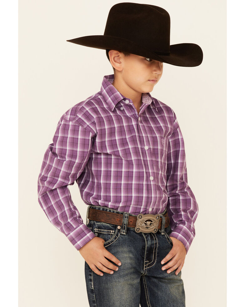 Panhandle Select Boys' Orchid Check Plaid Long Sleeve Button-Down Western Shirt , Purple, hi-res