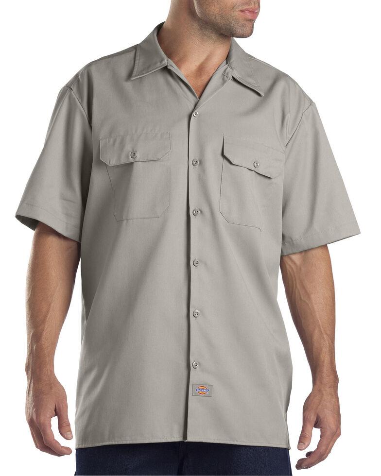 Dickies Short Sleeve Twill Work Shirt - Big & Tall-Folded, Silver, hi-res