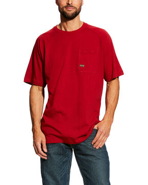 Ariat Men's Red Rebar Cotton Strong Short Sleeve Logo Crew T-Shirt - Tall , Red, hi-res