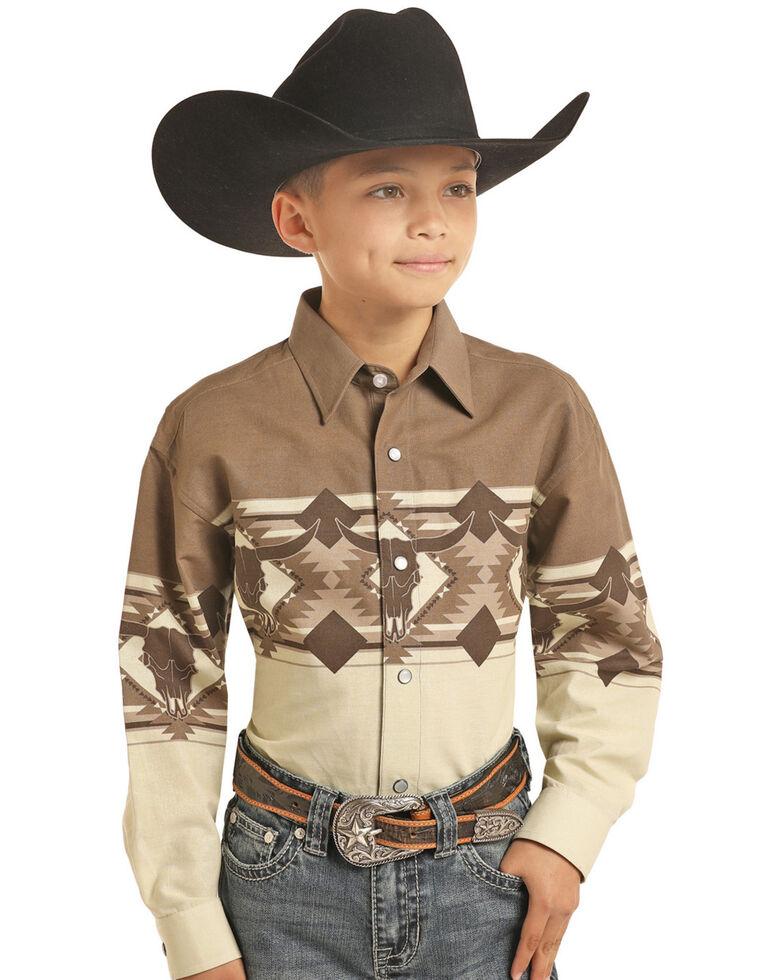 Panhandle Select Boys' Tan Border Print Long Sleeve Western Shirt , Tan, hi-res
