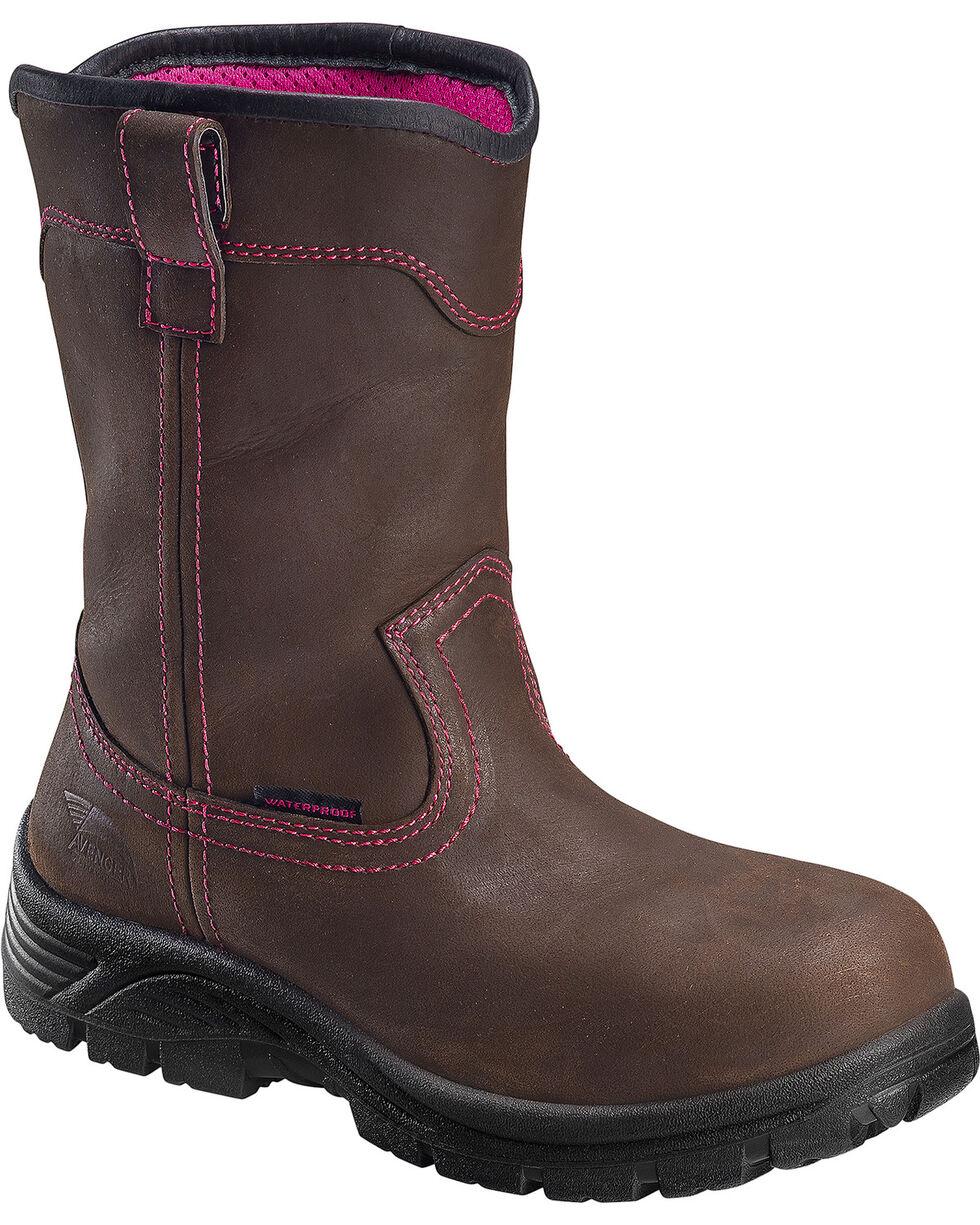 Avenger Women's Waterproof Wellington Work Boots - Composite Toe, Brown, hi-res