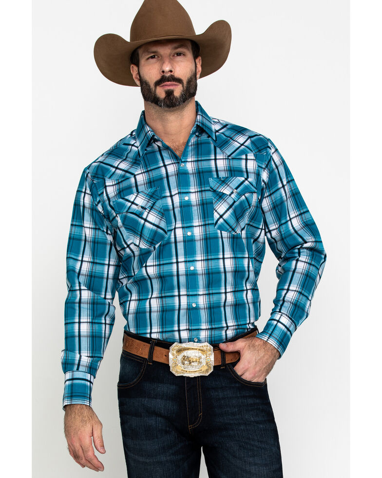 Ely Cattleman Men's Textured Multi Plaid Long Sleeve Western Shirt - Big & Tall , Multi, hi-res