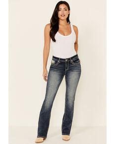 Grace in LA Women's Winged Cross Bootcut Jeans, Medium Blue, hi-res