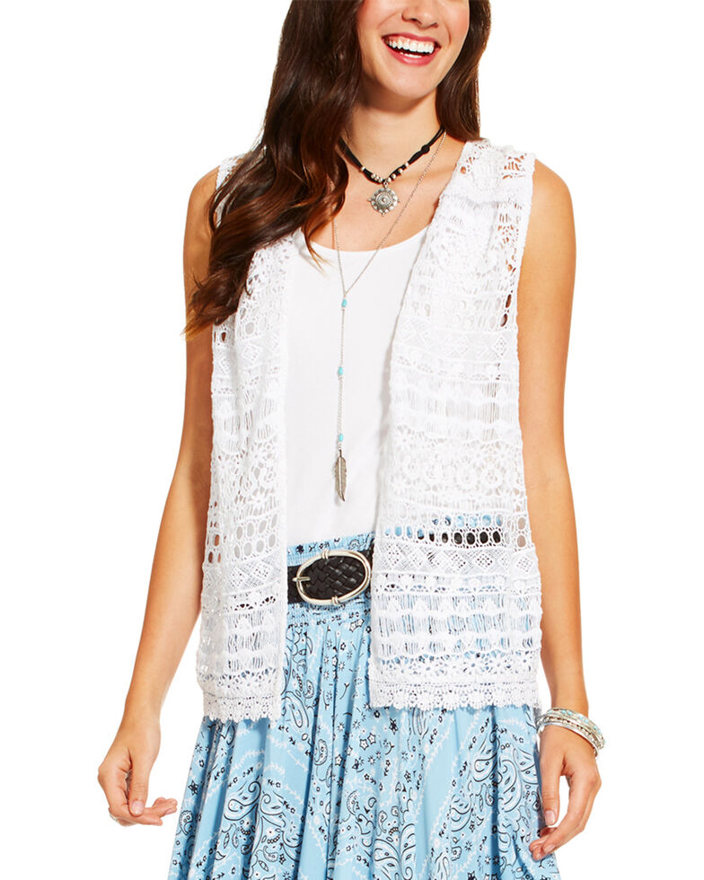 Ariat Women's White Lace Vest , White, hi-res