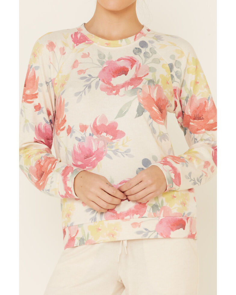 PJ Salvage Women's Happy Blooms Floral Print Long Sleeve Top , Oatmeal, hi-res