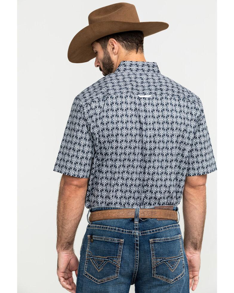 Tuf Cooper Men's Grey Stretch Geo Print Short Sleeve Western Shirt , Grey, hi-res