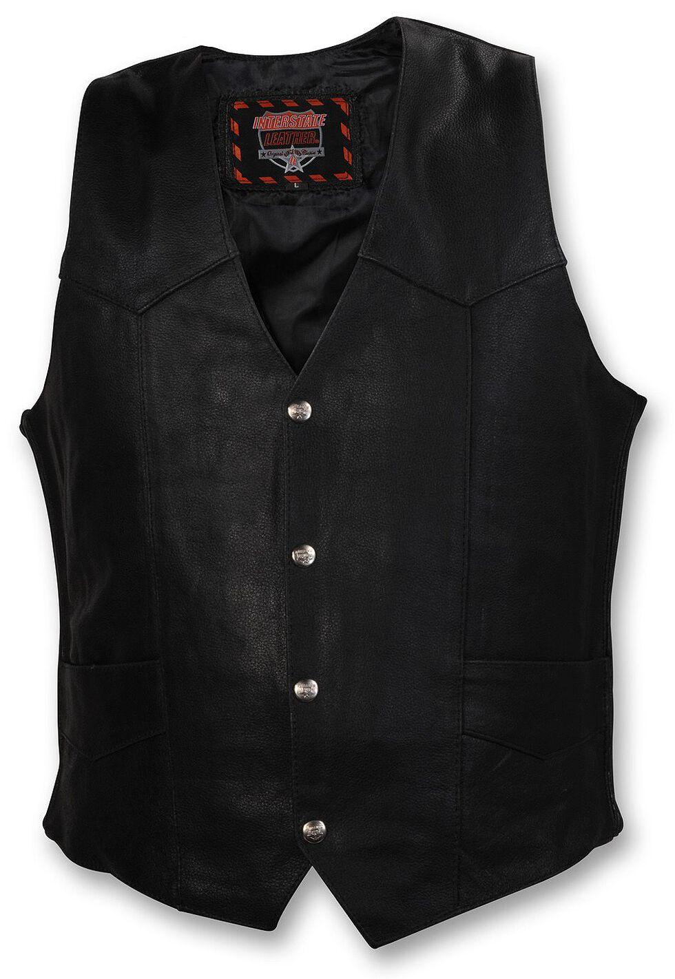 Interstate Leather Motorcycle Vest - XL, Black, hi-res