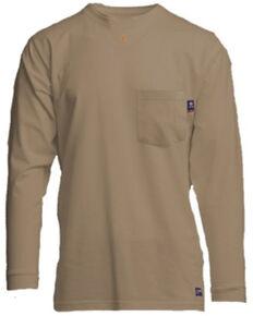 Lapco Men's FR Solid Khaki Long Sleeve Work Pocket T-Shirt , Beige/khaki, hi-res