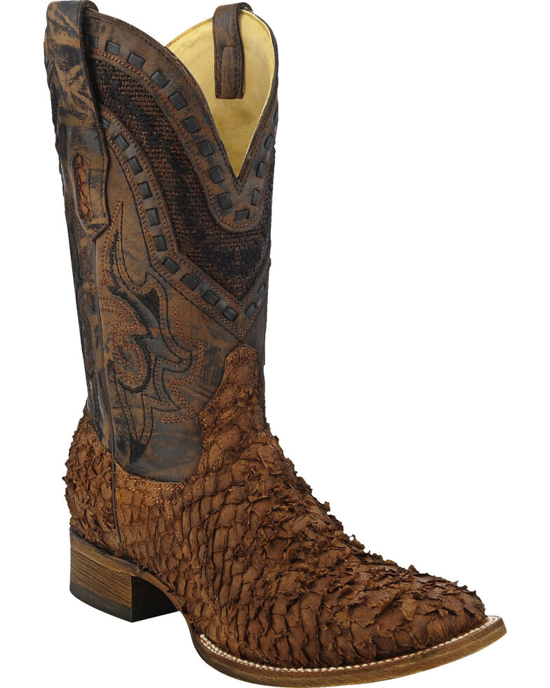 Corral Gnarly Sea Bass Cowboy Boots - Wide Square Toe , Brown, hi-res