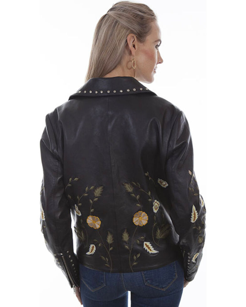 Scully Women's Floral Embroidered Studded Motorcycle Jacket, Black, hi-res
