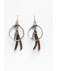 Shyanne Women's Blue Falls Mini Hoop With Leather Tassel Earrings, Silver, hi-res