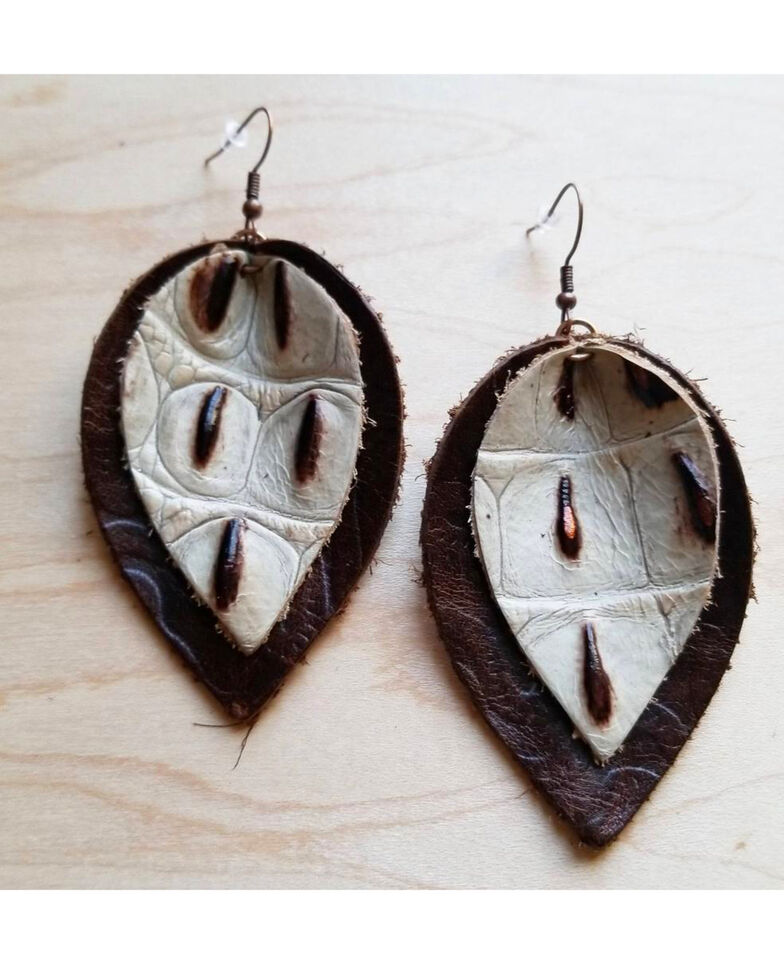Jewelry Junkie Women's Double Stacked Cream Gator Print Leather Earrings, Multi, hi-res