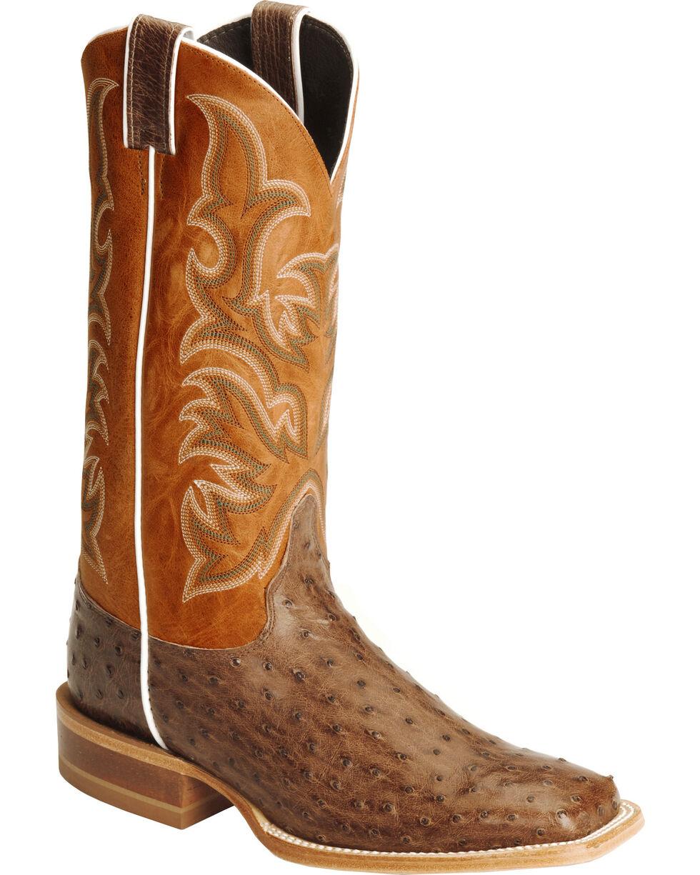 Justin Men's AQHA Full Quill Ostrich Cowboy Boots - Square Toe, Antique Brown, hi-res