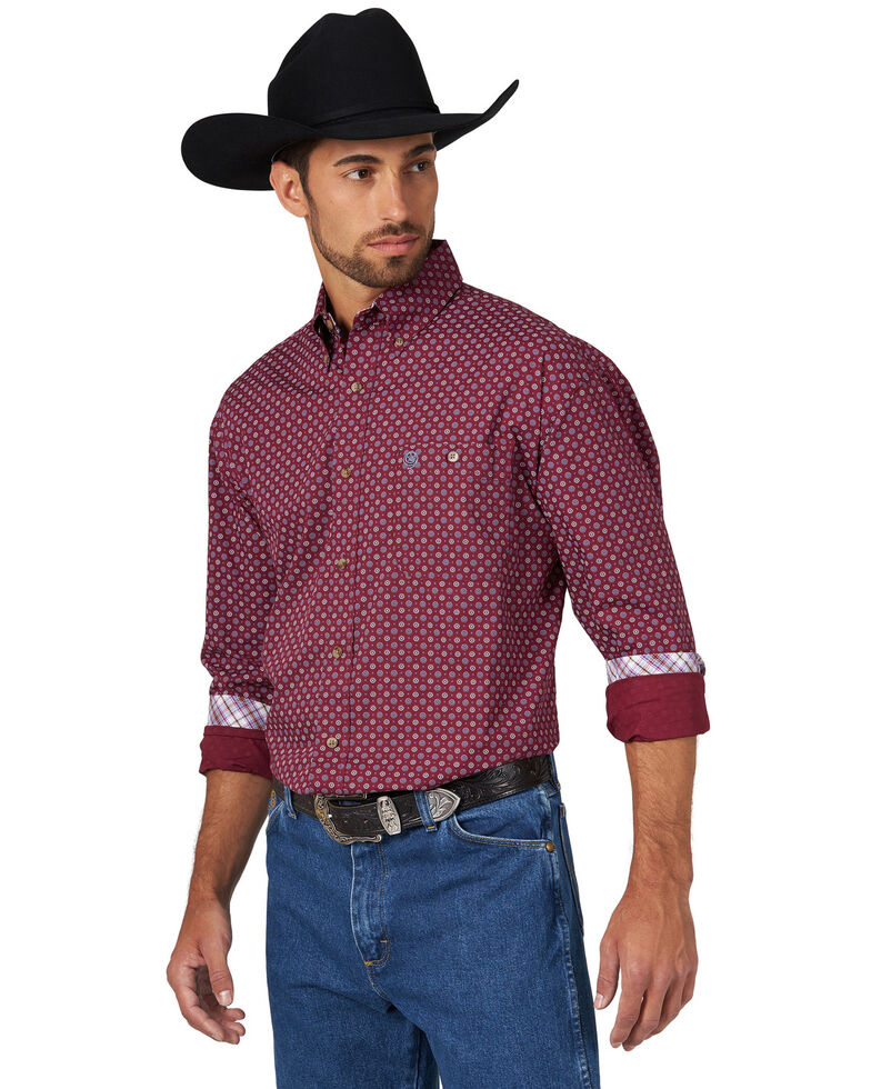 George Strait by Wrangler Men's Circle Geo Print Long Sleeve Western Shirt - Big , Burgundy, hi-res