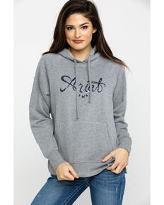 Ariat Women's Grey R.E.A.L. Sequin Hoodie, Grey, hi-res