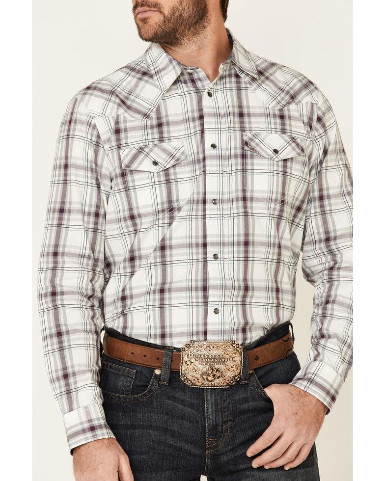 Cody James Men's Watermark Large Plaid Long Sleeve Snap Western Shirt , White, hi-res
