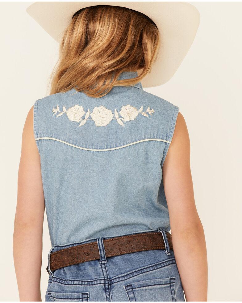 Ely Walker Girls' Denim Rose Yoke Sleeveless Snap Western Shirt , Indigo, hi-res